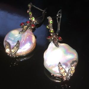 Charming Natural Baroque Pearl Earrings with Gems